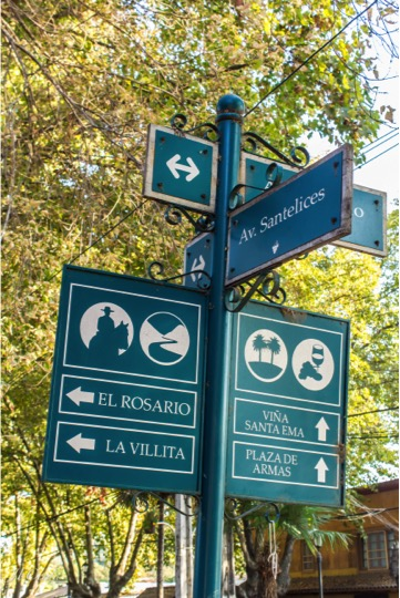 Tour in Isla de Maipo. Signs in down town. Santiago Chile
